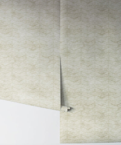 Herringbone Wallpaper in Chartreuse by Bethany Linz for Milton & King