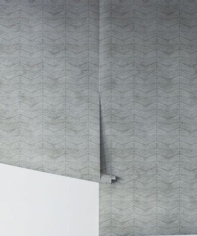 Herringbone Wallpaper in Stone by Bethany Linz for Milton & King