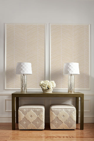 Herringbone Stripe Wallpaper in Gold and Off-White from the Casa Blanca II Collection by Seabrook Wallcoverings