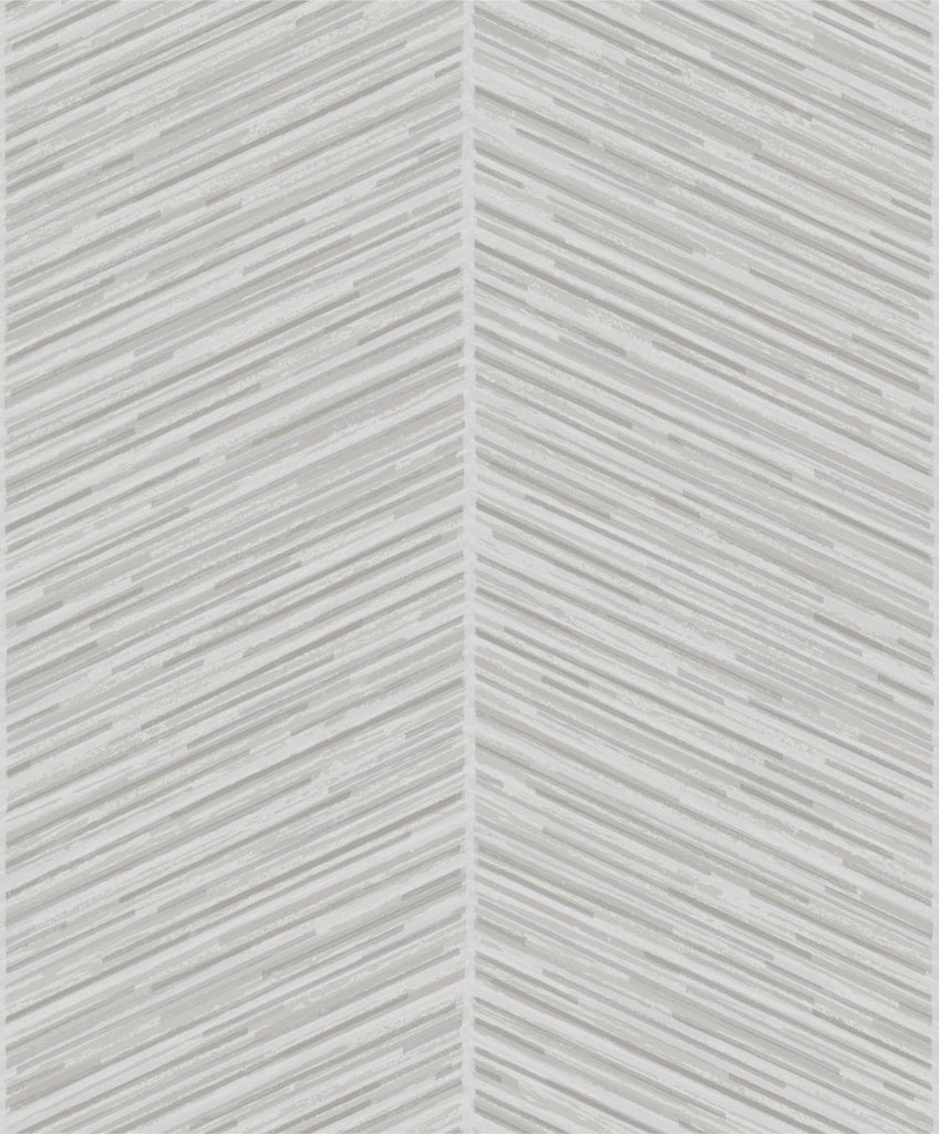 Sample Herringbone Stripe Wallpaper in Silver and Grey from the Casa Blanca II Collection by Seabrook Wallcoverings