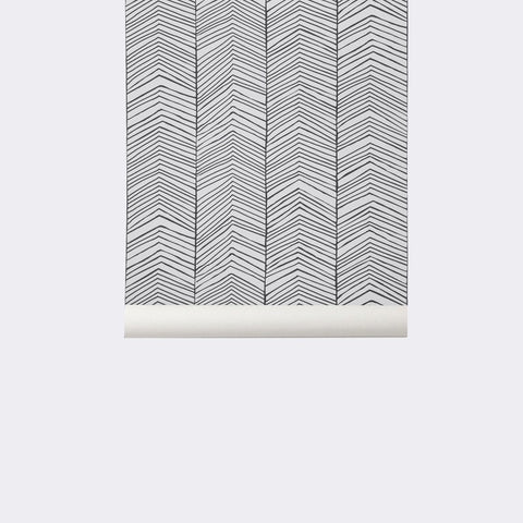Sample Herringbone Wallpaper in Black and White by Ferm Living