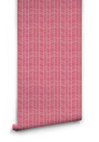 Herringbone Wallpaper in Pink Quince by Milton & King
