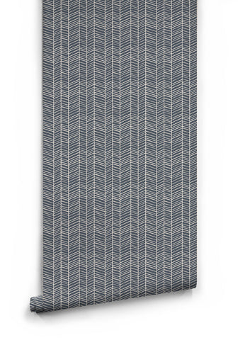 Sample Herringbone Wallpaper in Thunderbolt Blue by Milton & King
