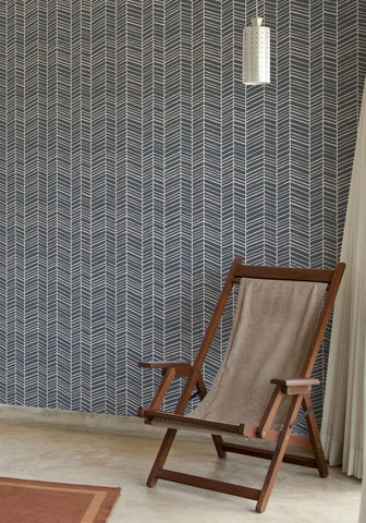 Herringbone Wallpaper in Thunderbolt Blue by Milton & King