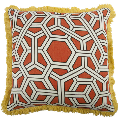 "Hexagon 22"" Linen/Cotton Pillow in Alcazar design by Thomas Paul"