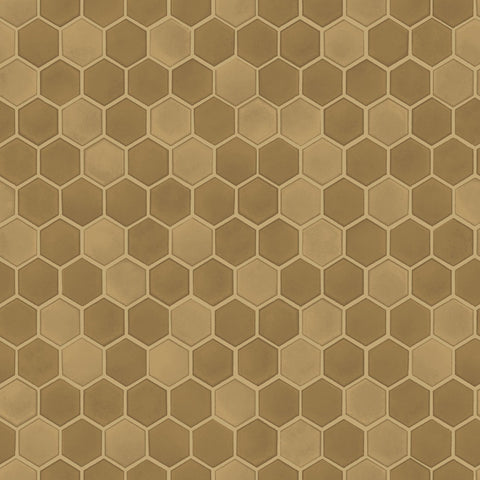 Hexagon Tile Self-Adhesive Wallpaper in Brushed Gold design by Tempaper