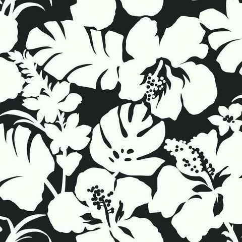 Hibiscus Arboretum Wallpaper in Black from the Water's Edge Collection by York Wallcoverings