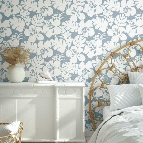 Hibiscus Arboretum Wallpaper in Blue from the Water's Edge Collection by York Wallcoverings