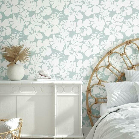 Hibiscus Arboretum Wallpaper in Mint from the Water's Edge Collection by York Wallcoverings