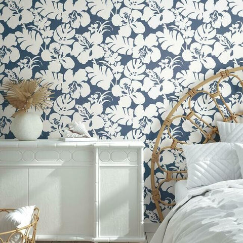 Hibiscus Arboretum Wallpaper in Navy from the Water's Edge Collection by York Wallcoverings