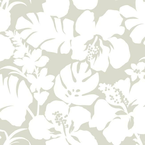 Hibiscus Arboretum Wallpaper in Sand from the Water's Edge Collection by York Wallcoverings