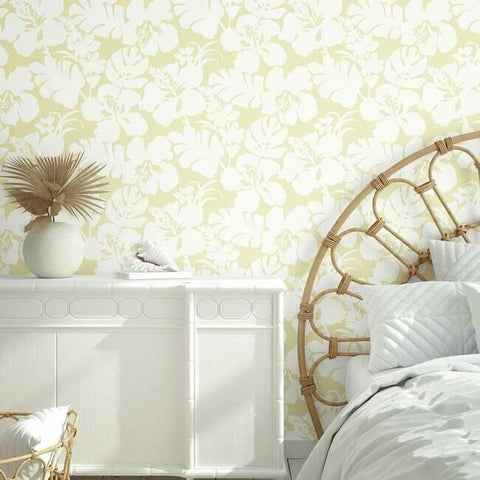 Hibiscus Arboretum Wallpaper in Yellow from the Water's Edge Collection by York Wallcoverings