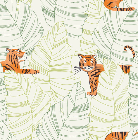 Hiding Tigers Wallpaper in Orange and Green from the Day Dreamers Collection by Seabrook Wallcoverings
