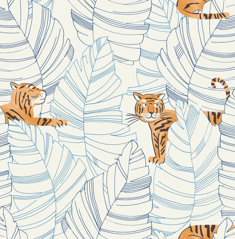 Hiding Tigers Wallpaper in Orange and Sky Blue from the Day Dreamers Collection by Seabrook Wallcoverings