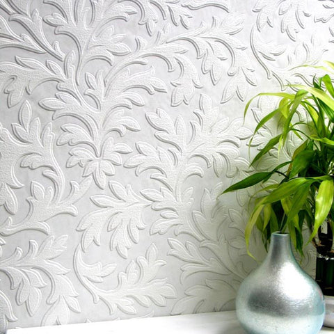 High Leaf Paintable Textured Wallpaper design by Brewster Home Fashions