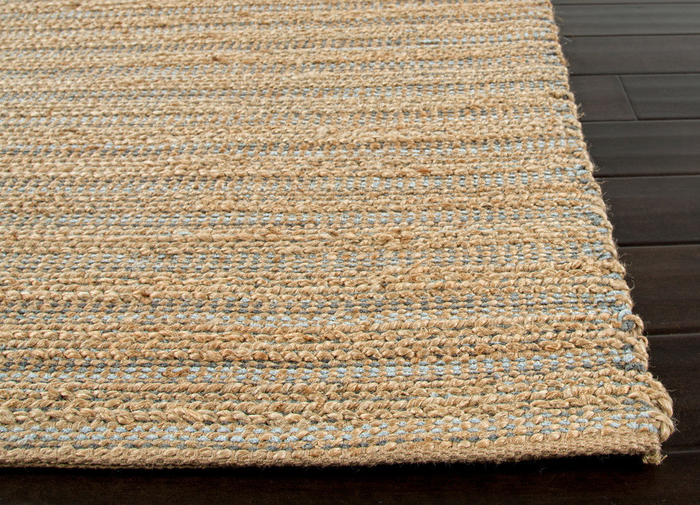 Himalaya Collection Jute Amp Cotton Area Rug In Beige Amp Blue