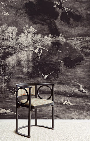 Hirundo Black Wall Mural by Eijffinger for Brewster Home Fashions