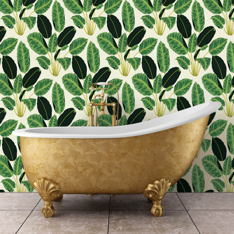 Hojas Cubanas Self Adhesive Wallpaper in Rich Emerald by Genevieve Gorder for Tempaper