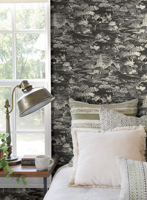 Homestead wallpaper in greyscale from the magnolia home - Joanna gaines bedding collection ...