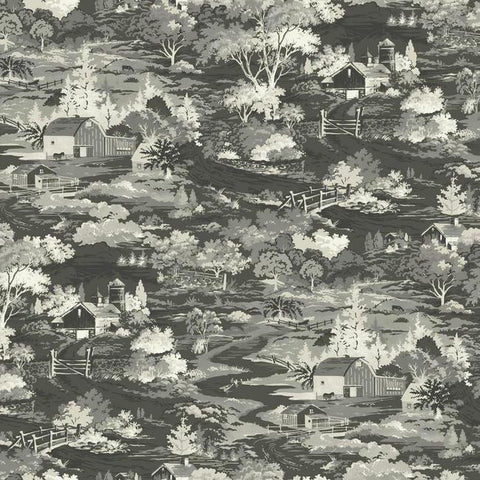 Homestead Wallpaper in Greyscale from the Magnolia Home Collection by Joanna Gaines for York Wallcoverings