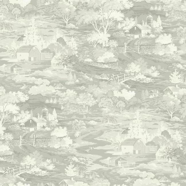 Homestead Wallpaper in Soft Grey from the Magnolia Home Collection by Joanna Gaines for York Wallcoverings