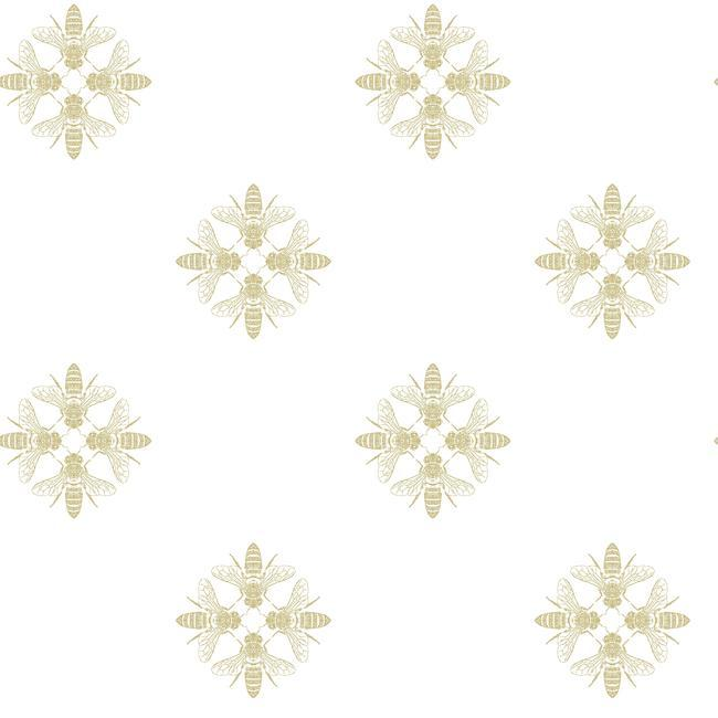 Honey Bee Peel & Stick Wallpaper in White and Gold by RoomMates for York Wallcoverings