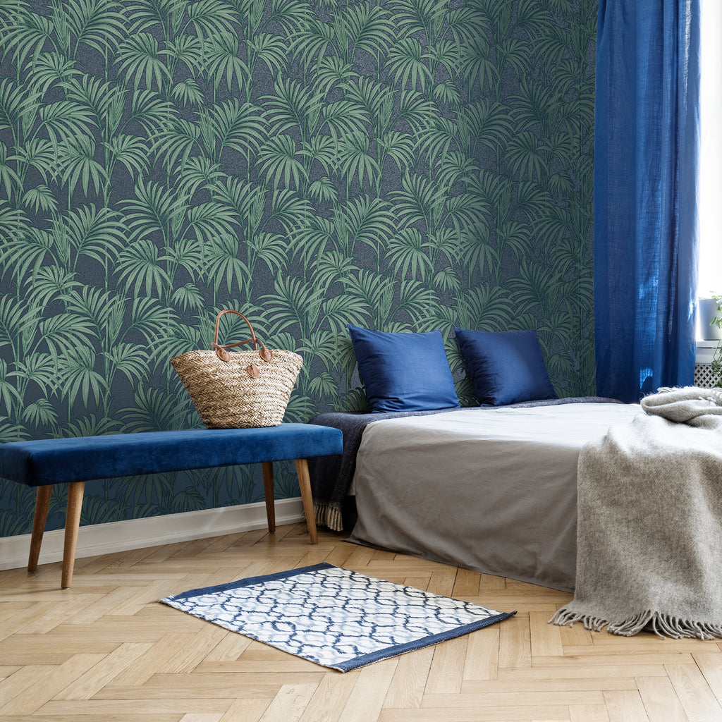 Honolulu Wallpaper in Navy from the Capsule Collection by Graham & Brown