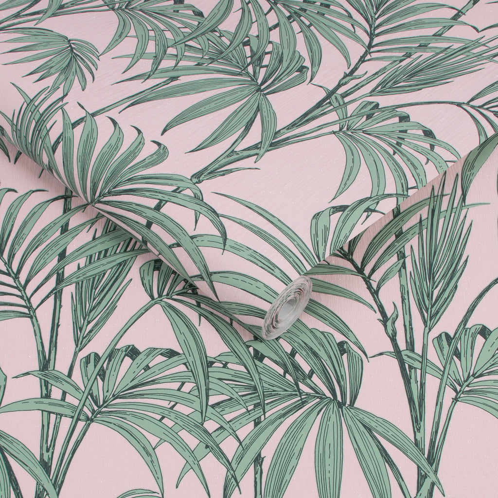 Sample Honolulu Wallpaper in Pink from the Capsule Collection by Graham & Brown