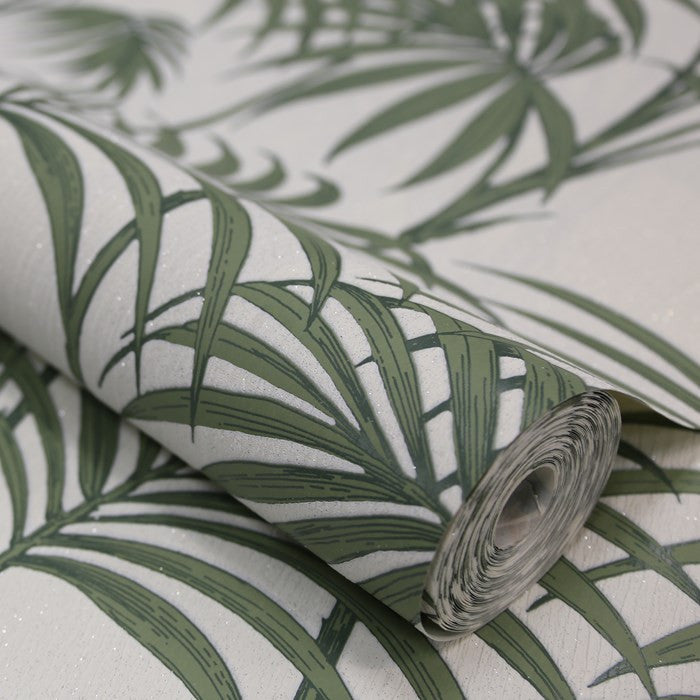 Honolulu Wallpaper in Palm Green by Julien MacDonald for Graham & Brown