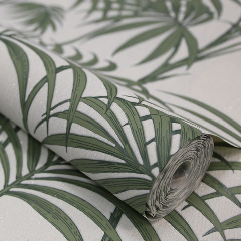 Honolulu Wallpaper In Palm Green By Julien MacDonald For Graham Brown