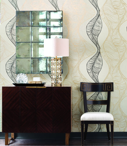 Hoopla Wallpaper in Gold and Black from the Breathless Collection by Candice Olson for York Wallcoverings