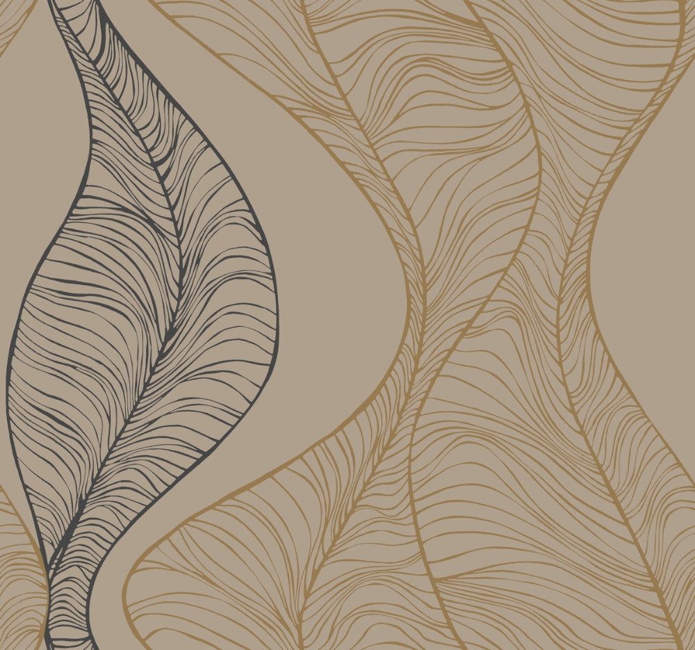 Sample Hoopla Wallpaper in Gold and Black from the Breathless Collection by Candice Olson for York Wallcoverings