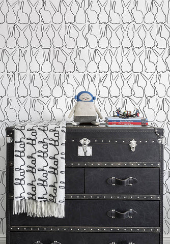 Hop Wallpaper in Charcoal by Marley + Malek Kids