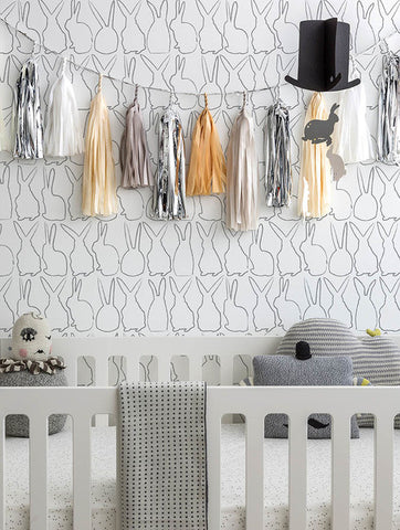 Hop Wallpaper in Silver by Marley + Malek Kids