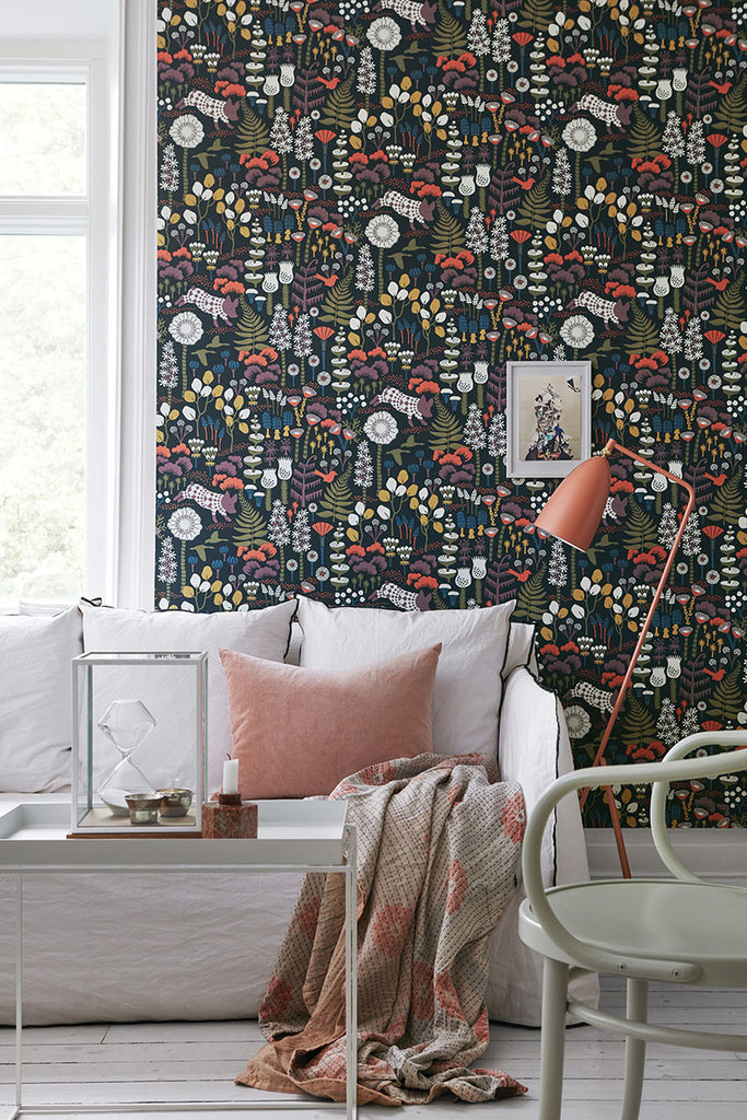 Hoppet Folk Wallpaper from the Wonderland Collection by Brewster Home Fashions