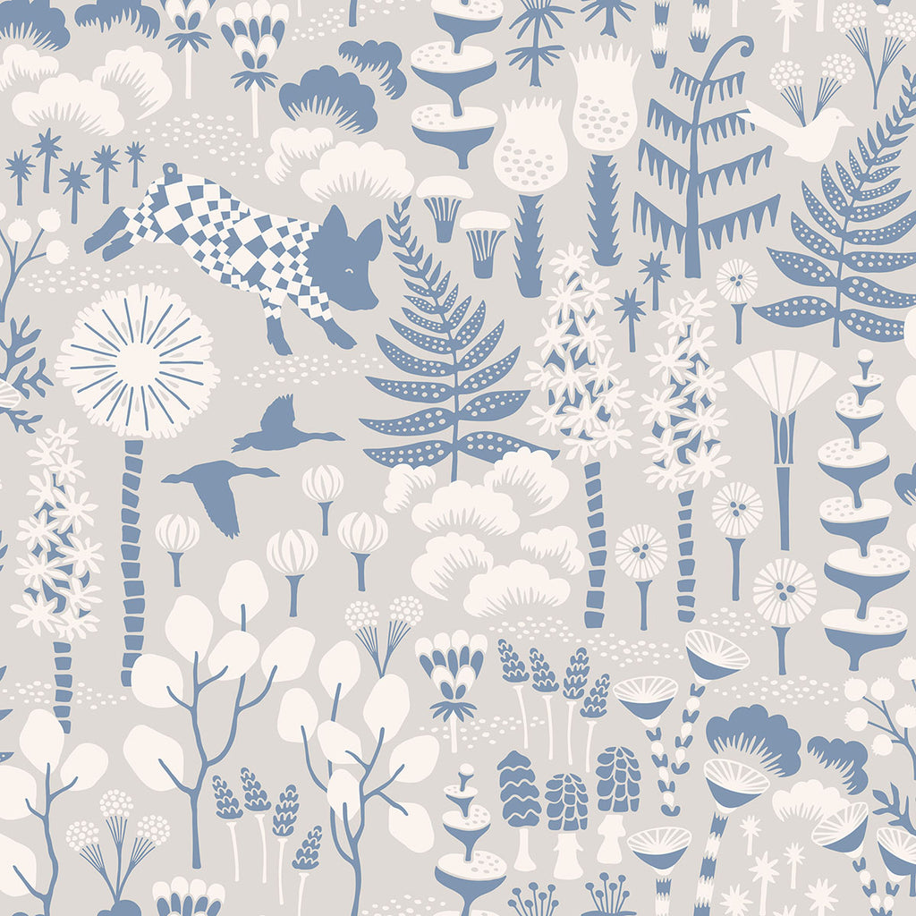 Hoppet Grey Folk Wallpaper from the Wonderland Collection by Brewster Home Fashions