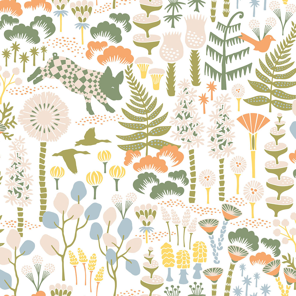 Hoppet White Folk Wallpaper from the Wonderland Collection by Brewster Home Fashions