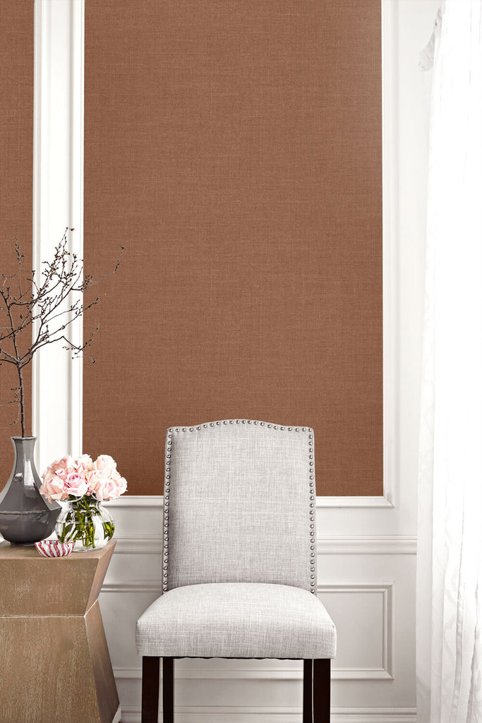 Hopsack Embossed Vinyl Wallpaper in Copper Penny from the Living With Art Collection by Seabrook Wallcoverings
