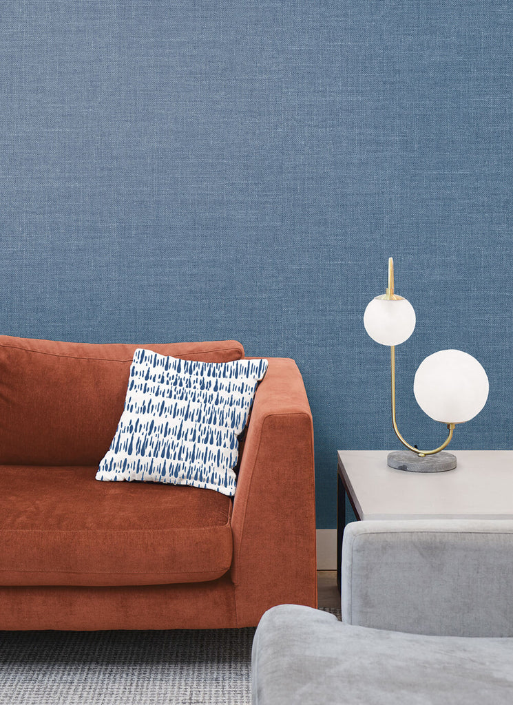 Hopsack Embossed Vinyl Wallpaper in Denim from the Living With Art Collection by Seabrook Wallcoverings