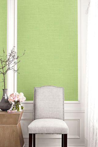 Hopsack Embossed Vinyl Wallpaper in Green Apple from the Living With Art Collection by Seabrook Wallcoverings