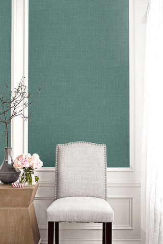 Hopsack Embossed Vinyl Wallpaper in Phthalo Green from the Living With Art Collection by Seabrook Wallcoverings