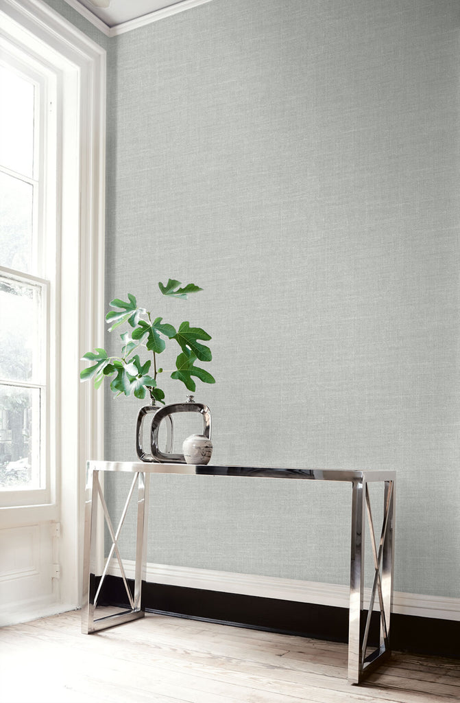 Hopsack Embossed Vinyl Wallpaper in Smoke Drift from the Living With Art Collection by Seabrook Wallcoverings