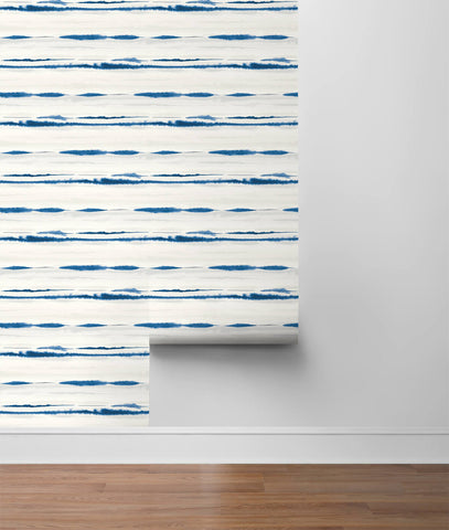 Horizon Stripe Peel-and-Stick Wallpaper in Blue Oasis from the Luxe Haven Collection by Lillian August