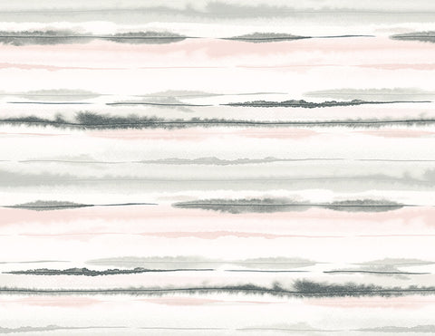 Horizon Stripe Peel-and-Stick Wallpaper in Pink Sunset from the Luxe Haven Collection by Lillian August