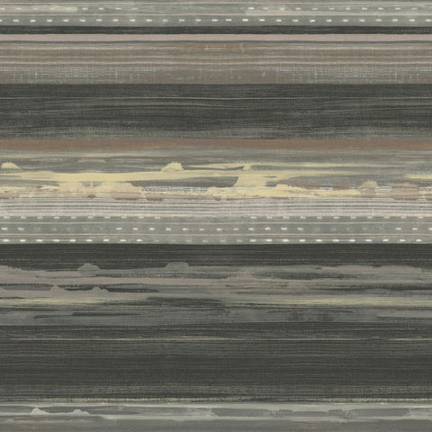 Horizon Brushed Stripe Wallpaper in Brushed Ebony, Walnut, and Blonde from the Boho Rhapsody Collection by Seabrook Wallcoverings