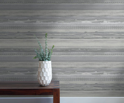 Horizon Brushed Stripe Wallpaper in Cinder Grey and Ivory from the Boho Rhapsody Collection by Seabrook Wallcoverings
