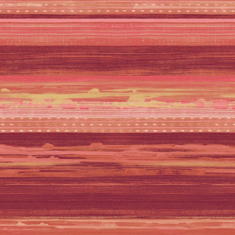 Horizon Brushed Stripe Wallpaper in Cranberry, Scarlet, and Blonde from the Boho Rhapsody Collection by Seabrook Wallcoverings