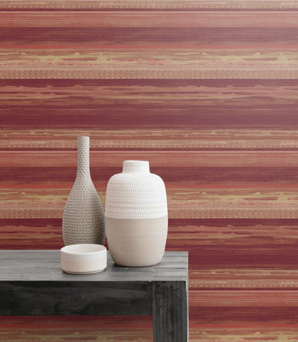Horizon Brushed Stripe Wallpaper in Maroon, Taupe, and Blonde from the Boho Rhapsody Collection by Seabrook Wallcoverings