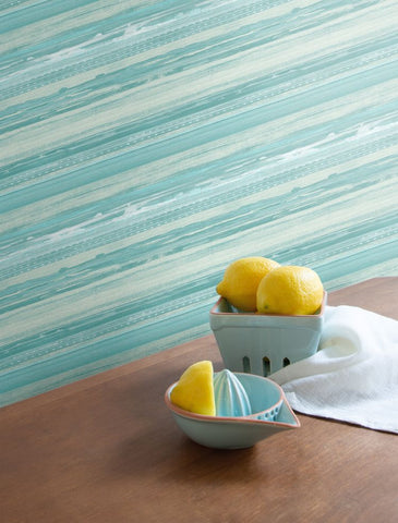 Horizon Brushed Stripe Wallpaper in Teal, Seafoam, and Ivory from the Boho Rhapsody Collection by Seabrook Wallcoverings