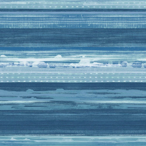 Horizon Brushed Stripe Wallpaper in Washed Denim and Sky Blue from the Boho Rhapsody Collection by Seabrook Wallcoverings